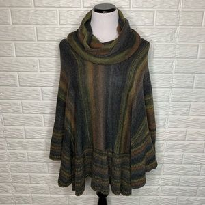 Sisters NWT Olive Space Dye Stripe Poncho Sweater